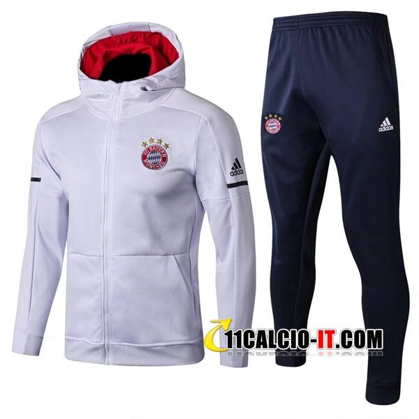 Nuova Giacca con cappuccio Tute Allenamento Bayern Monaco Bianco ...