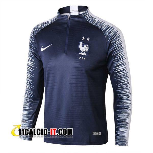 Felpa da training Francia 2 stelle Blu scuro/Bianco 2018-2019 | 11calcio-it