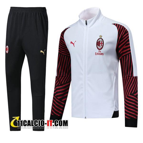 Nuove Tuta Calcio - Giacca AC Milan Bianco/Rosso 2018 19   Tailandia