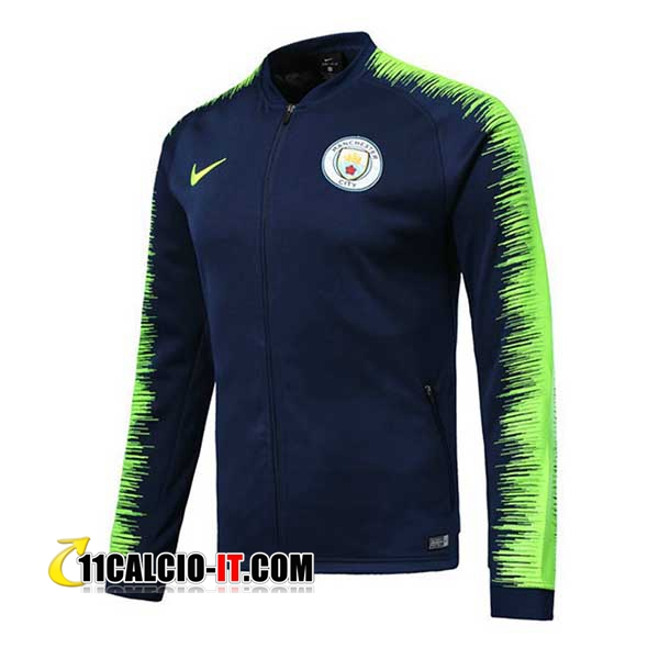 Giacca Calcio Manchester City Blu scuro/Verde 2018-2019 | 11calcio-it