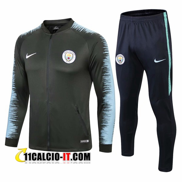 Tuta Calcio - Giacca Manchester City Verde Scuro/Blu 2018-2019 | 11calcio-it