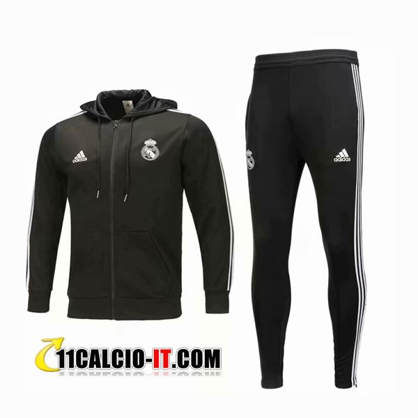 Tuta Calcio con Cappuccio Real Madrid Nero 2018-2019 | 11calcio-it