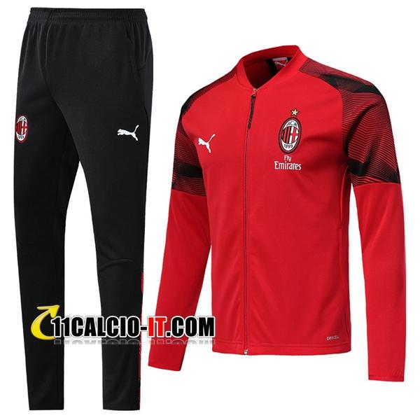 Nuove Nuovi Tuta Calcio - Giacca AC Milan Rosso 2019/20 | Tailandia