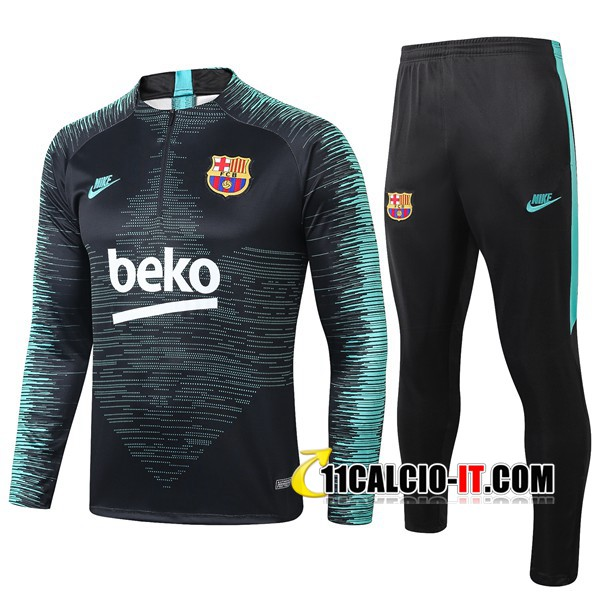 Tuta Calcio FC Barcellona Beko Nero Verde 2019-2020 | 11calcio-it