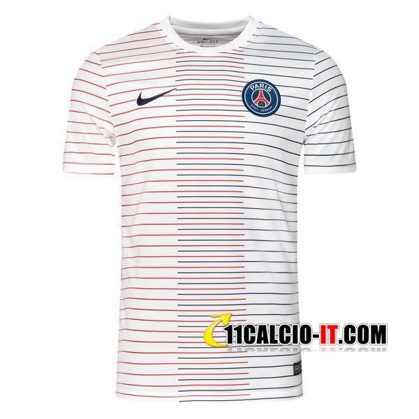 Nuove T Shirt Allenamento PSG Nike Bianco Stripe 2019-2020