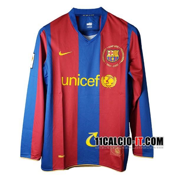 Maglia Calcio FC Barcellona Maniche lunghe Prima 2007/2008