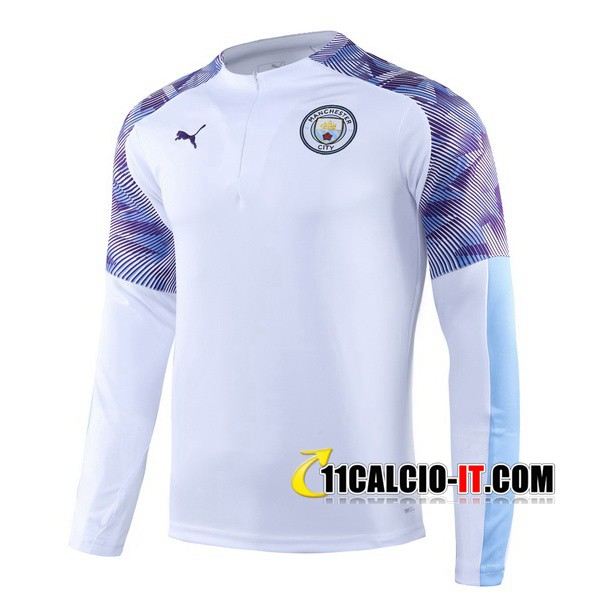 Felpa da training Manchester City Bianco Porpora 2019-2020 | 11calcio-it