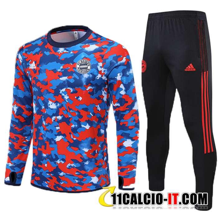 Ingrosso Insieme Tuta Calcio Bayern Monaco Bambino Blu/Rosso 2021/2022