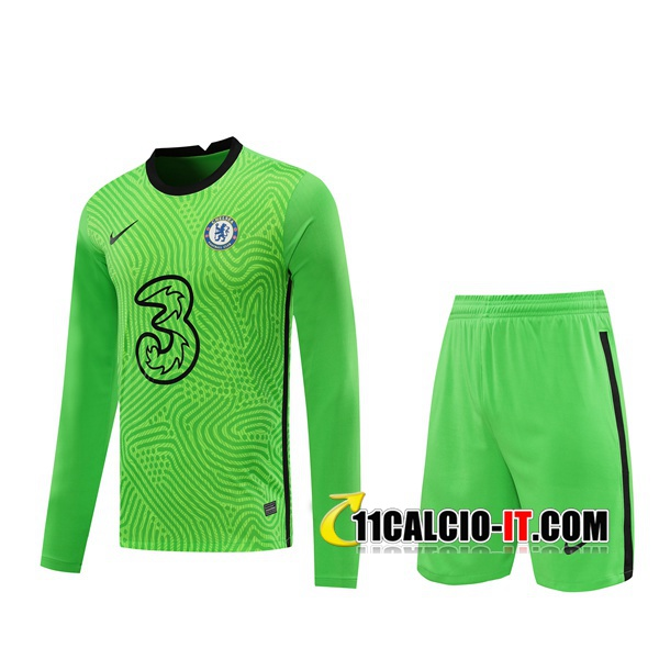 Crea Maglia Calcio FC Chelsea Portiere Verde Manica lunga 2020/2021