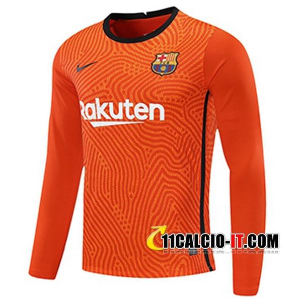 Nuova Maglia Calcio FC Barcellona Portiere Arancione Maniche ...