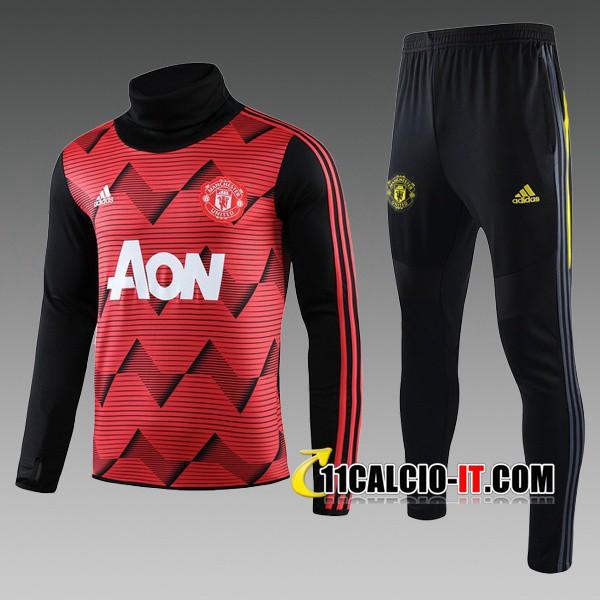 Nuove Tuta Calcio Manchester United Bambino Rosso Nero Collo Alto ...