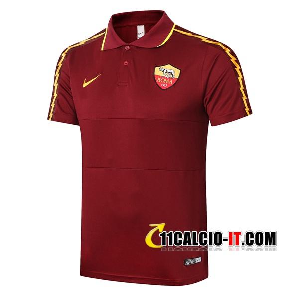 Nuove Maglia Polo AS Roma Nero Rosso 2020/21   Tailandia